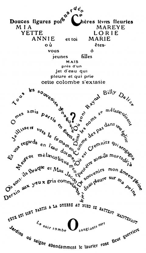 Guillaume Apollinaire, «La Colombe Poignardée et le Jet d'eau», dans Calligrammes. Poèmes de la paix et de la guerre1913-1916, Paris, Le Mercure de France, 1918.