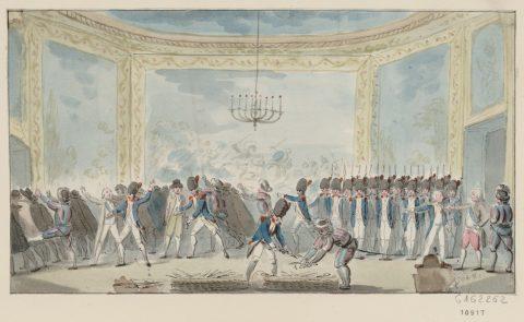 Anonyme, Chevalier du poignard désarmés par ordre du roi au château des Thuilleries le 28 février 1791, aquarelle, 1791. Paris, Bibliothèque nationale de France.