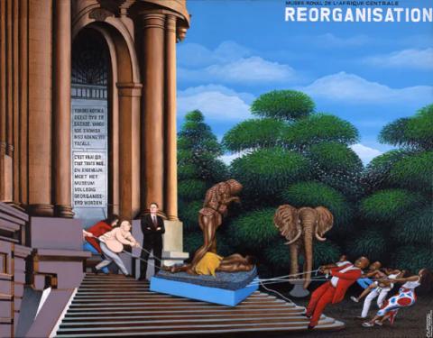 Chéri Samba, Réorganisation, tableau réalisé pour l'Expo 58, 2008.