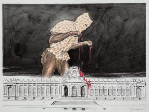 François Shuiten, image parue en décembre 2001 dans le magazine belge Tudi. Elle est utilisée dans le guide « Bruxelles itinéraires » du Lonely Planet, 2010, p.132. L'original a été vendu en 2012 pour 10 000 euros.