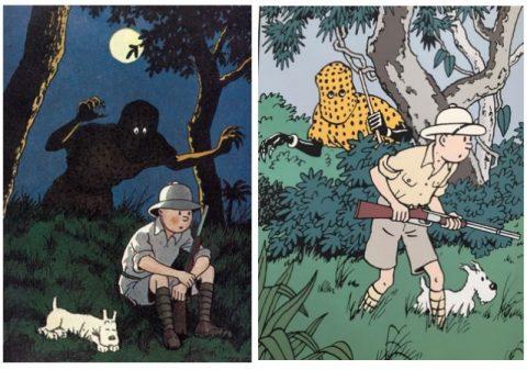 Dessin utilisé par la couverture des tribulations de Tintin au Congo, Monographie de Philippe Goddin, Casterman, 2018 / Sérigraphie Archives internationales - Tintin et l'homme léopard - Tintin au Congo 1990.