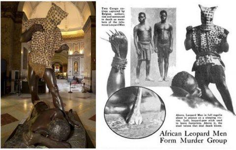 L'homme-léopard au musée de l'Afrique, Tervuren, Belgique ; Illustrations pour un article à propos des hommes léopards dans le magazine Popular Science, août, 1943.