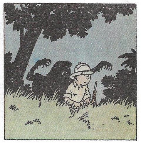 Case de Tintin au Congo dessinée par Hergé, Casterman, 1946.